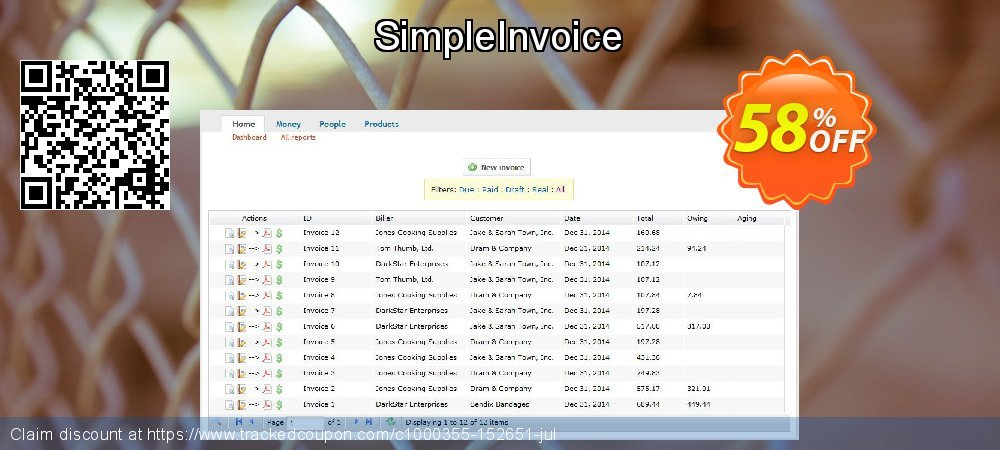 SimpleInvoice coupon on National Singles Day offering sales