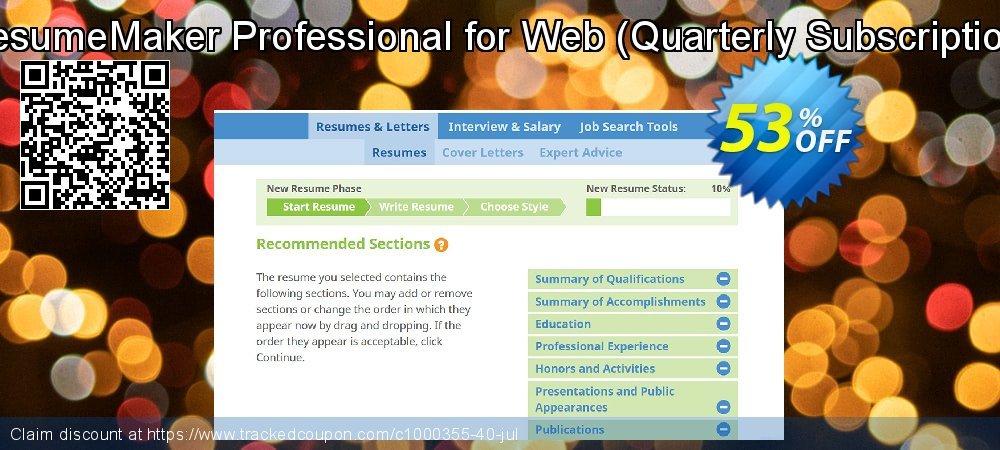 ResumeMaker Professional for Web - Quarterly Subscription  coupon on Back to School discounts
