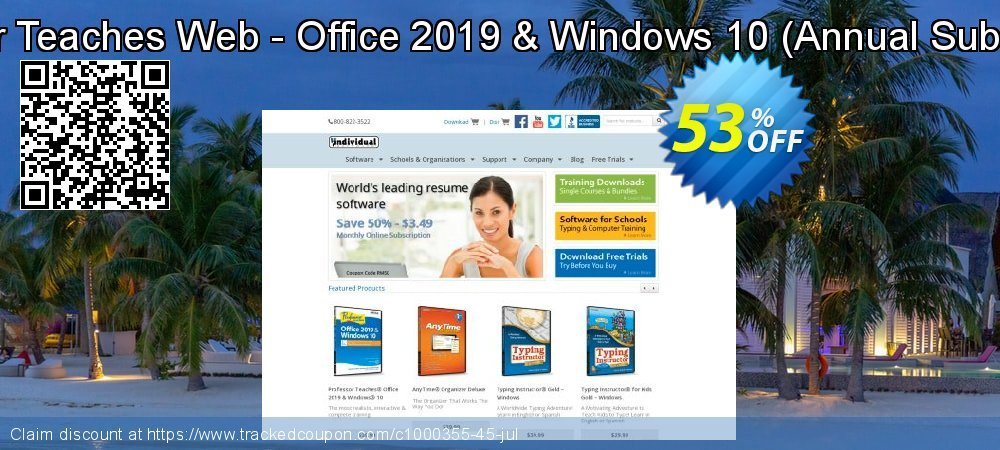 Professor Teaches Web - Office 2019 & Windows 10 - Annual Subscription  coupon on Valentine Week offering sales