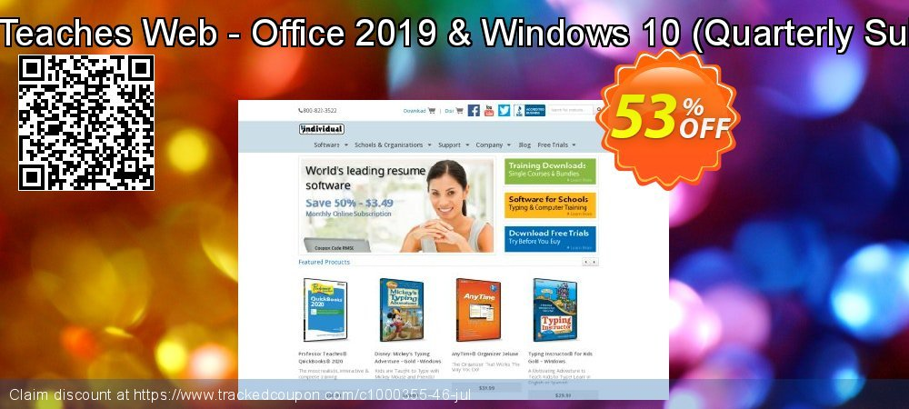 Professor Teaches Web - Office 2019 & Windows 10 - Quarterly Subscription  coupon on World Bollywood Day offering discount