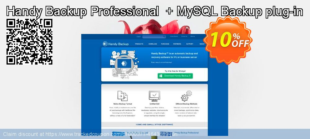 Get 10% OFF Handy Backup Professional + MySQL Backup plug-in promo sales