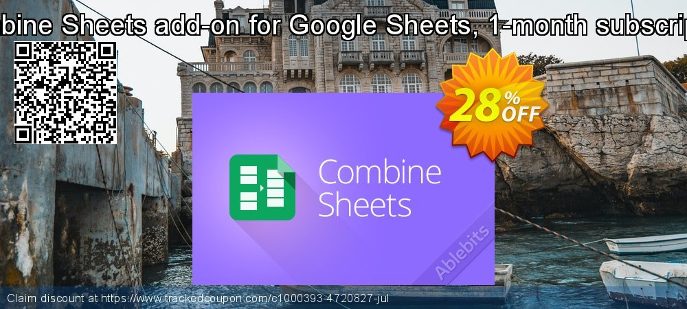 Get 20% OFF Combine Sheets add-on for Google Sheets, 1-month subscription offering sales