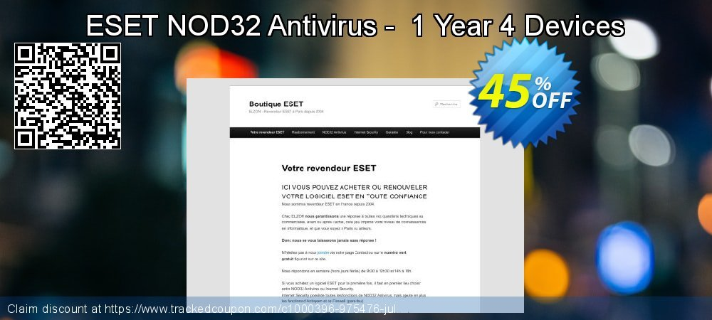 NOD32 Antivirus - Nouvelle licence 1 an pour 4 ordinateurs coupon on 4th of July promotions