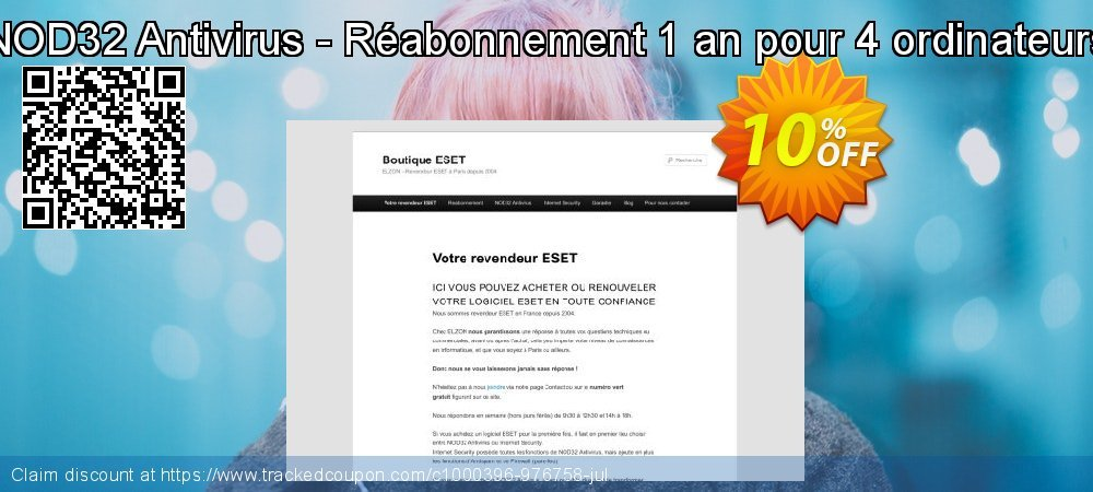 NOD32 Antivirus - Réabonnement 1 an pour 4 ordinateurs coupon on July 4th discount