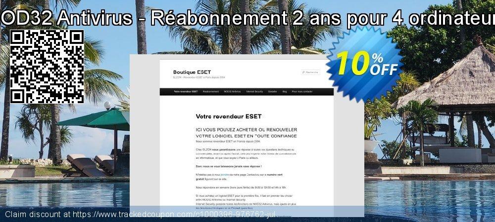 NOD32 Antivirus - Réabonnement 2 ans pour 4 ordinateurs coupon on July 4th discounts
