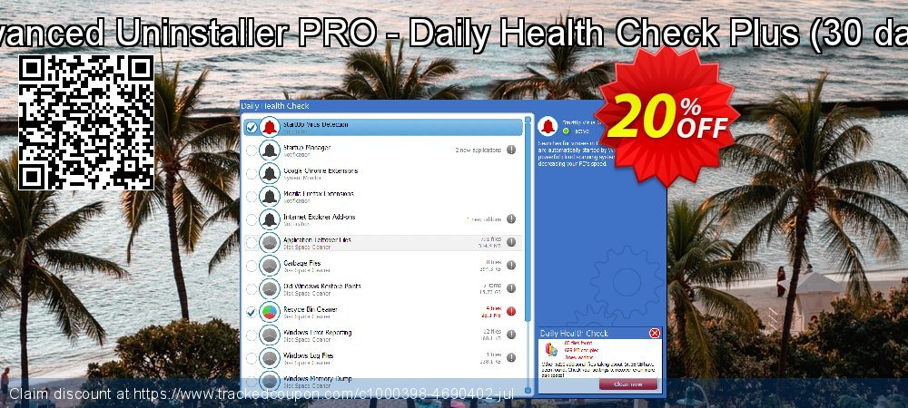 Get 20% OFF Advanced Uninstaller PRO - Daily Health Check Plus (30 days) offering sales