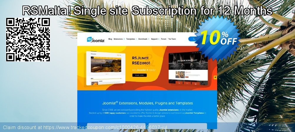 Get 10% OFF RSMalta! Single site Subscription for 12 Months offering discount
