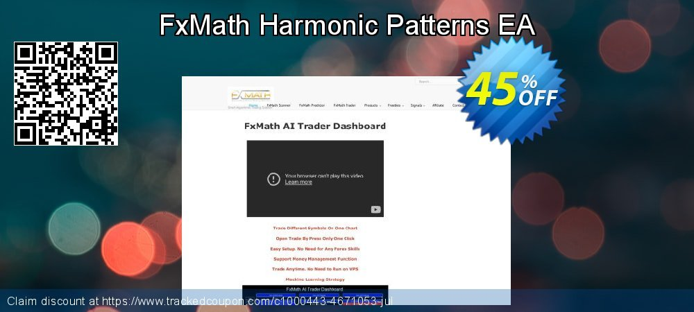 Get 45% OFF FxMath Harmonic Patterns EA offering sales
