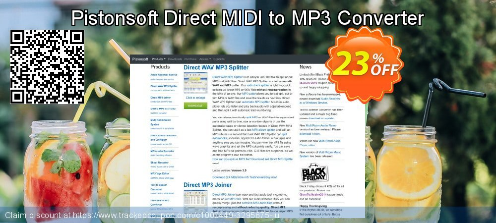 Get 20% OFF Pistonsoft Direct MIDI to MP3 Converter offering discount