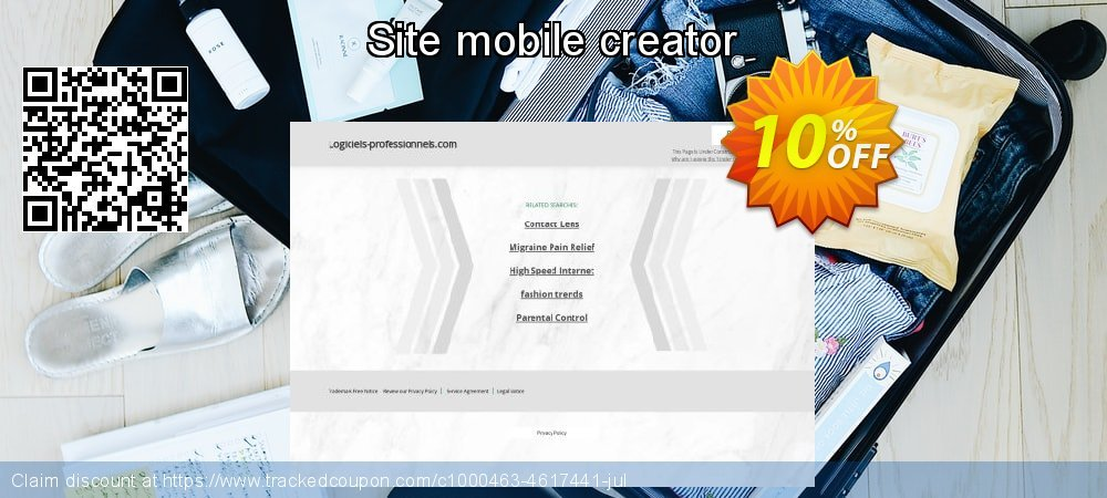 Site mobile creator coupon on Super bowl offer