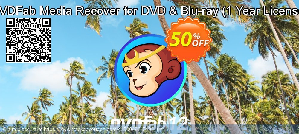 DVDFab Media Recover for DVD & Blu-ray - 1 Year License  coupon on Parents' Day offering discount