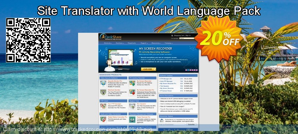 Get 20% OFF Site Translator with World Language Pack offering sales