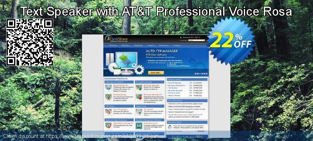 Get 20% OFF Text Speaker with AT&T Professional Voice Rosa offering sales