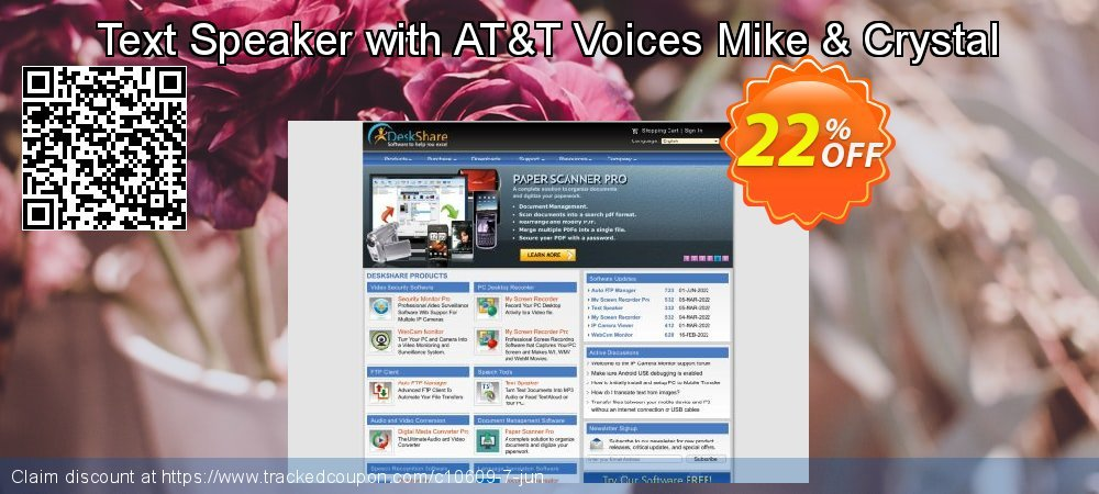Get 20% OFF Text Speaker with AT&T Voices Mike & Crystal offering sales
