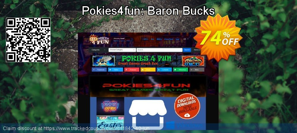 Get 70% OFF Pokies4fun: Baron Bucks offering sales
