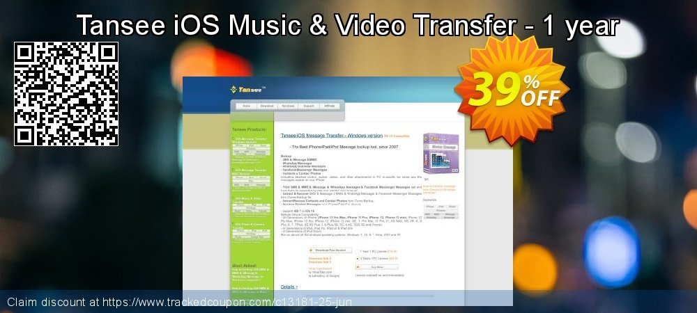 Tansee iOS Music & Video Transfer - 1 year coupon on New Year's Day offer