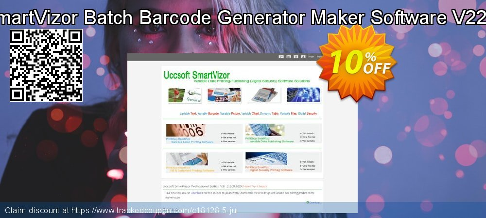 Get 10% OFF SmartVizor Batch Barcode Generator Maker Software V22.0 offering sales