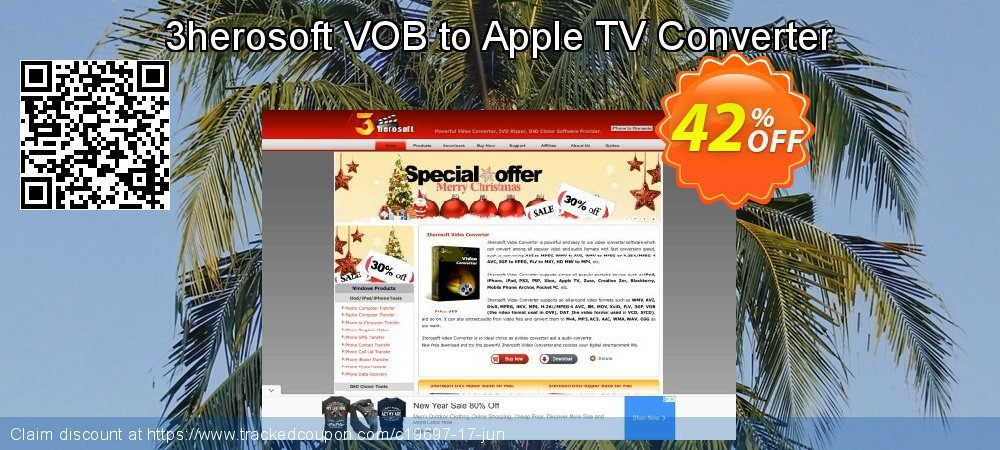 Get 40% OFF 3herosoft VOB to Apple TV Converter offering sales