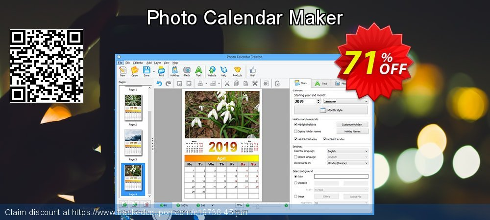 Photo Calendar Maker coupon on Halloween sales