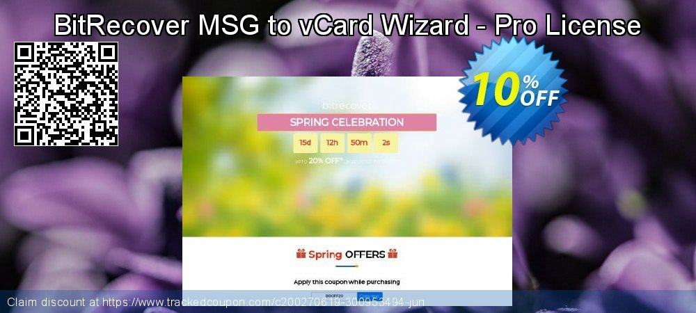 Get 10% OFF BitRecover MSG to vCard Wizard - Pro License sales