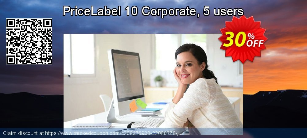 PriceLabel 8 Corporate, 5 users, yearly subscription coupon on Happy New Year sales