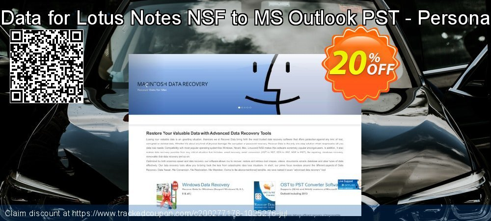 Claim 20% OFF Recover Data for Lotus Notes NSF to MS Outlook PST - Personal License Coupon discount May, 2021