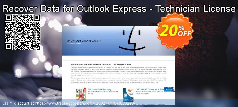 Get 20% OFF Recover Data for Outlook Express - Technician License discounts