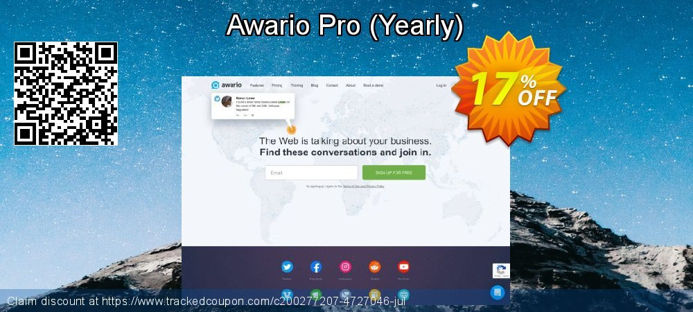 Awario Pro - Yearly  coupon on  Lover's Day discount