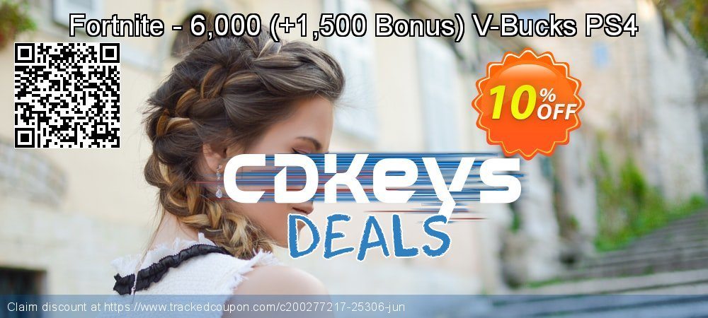 Fortnite - 6,000 - +1,500 Bonus V-Bucks PS4 coupon on Father's Day discount
