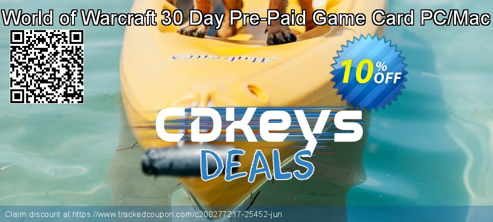 World of Warcraft 30 Day Pre-Paid Game Card PC/Mac coupon on World Milk Day offering sales