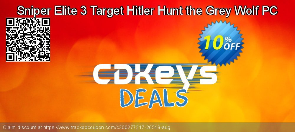 Sniper Elite 3 Target Hitler Hunt the Grey Wolf PC coupon on National Kissing Day offering discount