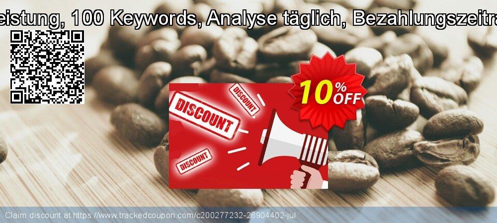 SEO-Dienstleistung, 100 Keywords, Analyse täglich, Bezahlungszeitraum 1 Monat coupon on Summer offer