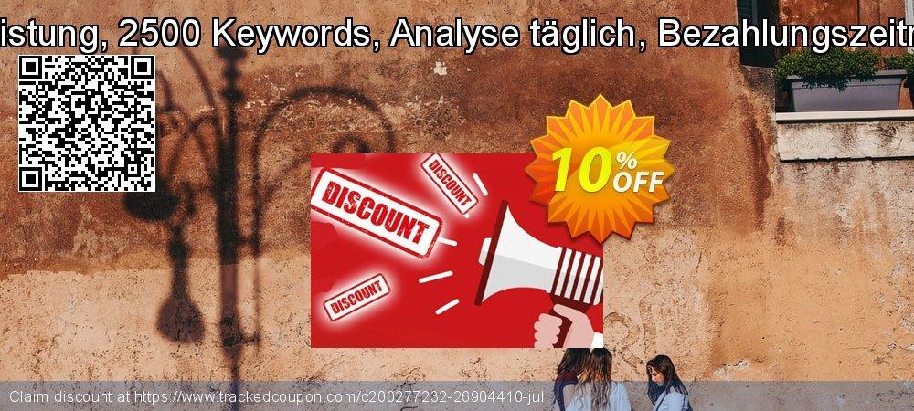 SEO-Dienstleistung, 2500 Keywords, Analyse täglich, Bezahlungszeitraum 1 Monat coupon on Mid-year deals