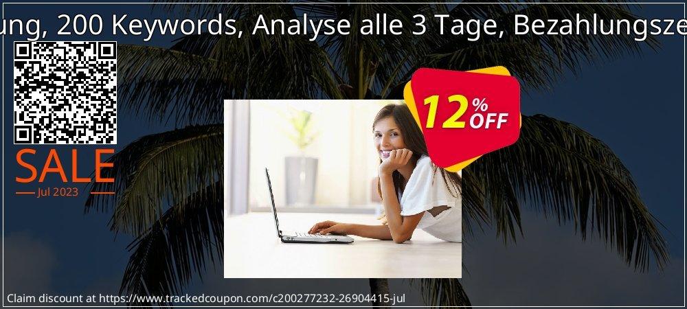 SEO-Dienstleistung, 200 Keywords, Analyse alle 3 Tage, Bezahlungszeitraum 1 Monat coupon on Father's Day super sale