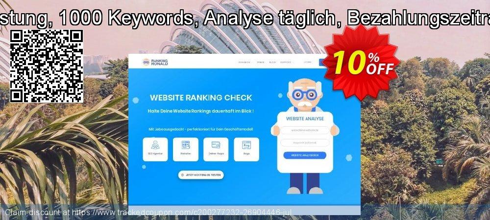 SEO-Dienstleistung, 1000 Keywords, Analyse täglich, Bezahlungszeitraum 3 Monate coupon on Mid-year deals