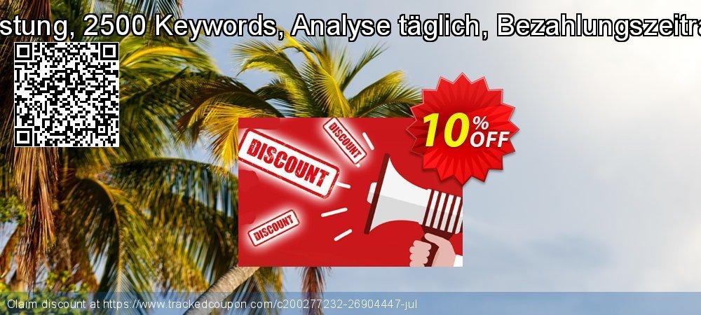 SEO-Dienstleistung, 2500 Keywords, Analyse täglich, Bezahlungszeitraum 3 Monate coupon on Summer offer