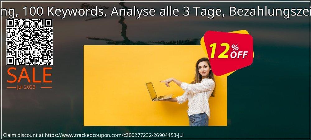SEO-Dienstleistung, 100 Keywords, Analyse alle 3 Tage, Bezahlungszeitraum 3 Monate coupon on Summer promotions