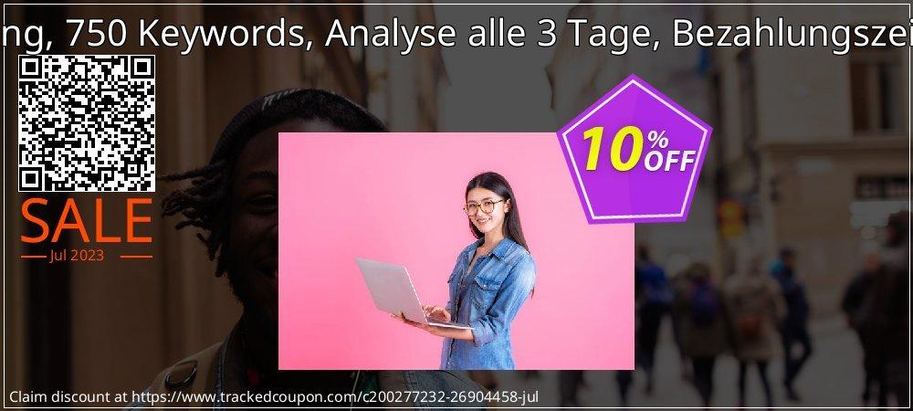 SEO-Dienstleistung, 750 Keywords, Analyse alle 3 Tage, Bezahlungszeitraum 3 Monate coupon on Happy New Year promotions