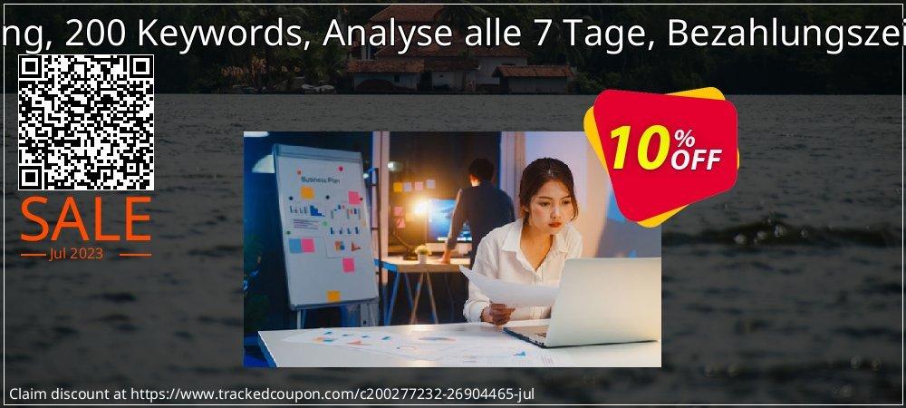 SEO-Dienstleistung, 200 Keywords, Analyse alle 7 Tage, Bezahlungszeitraum 3 Monate coupon on Summer offer