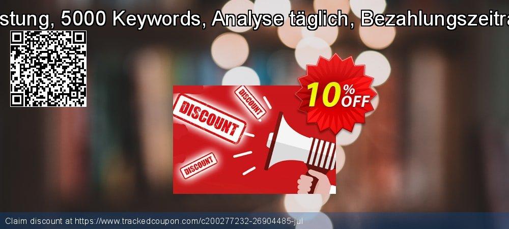SEO-Dienstleistung, 5000 Keywords, Analyse täglich, Bezahlungszeitraum 6 Monate coupon on Mid-year offering discount