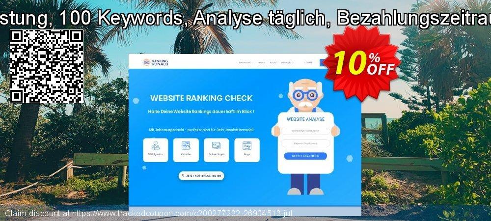 SEO-Dienstleistung, 100 Keywords, Analyse täglich, Bezahlungszeitraum 12 Monate coupon on Summer super sale