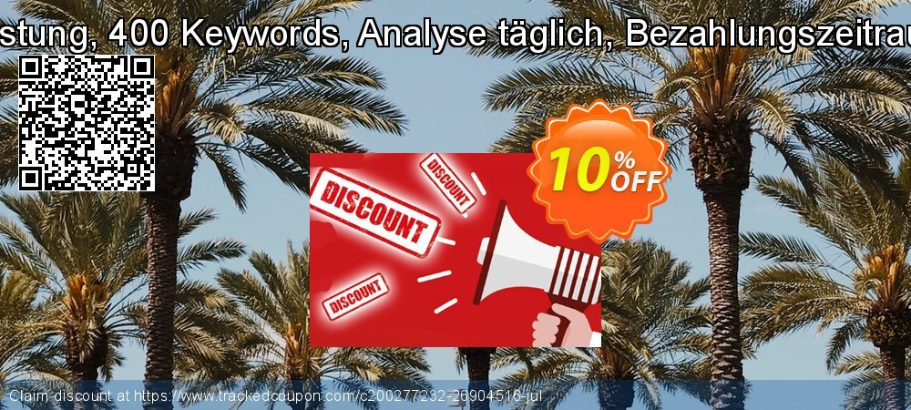 SEO-Dienstleistung, 400 Keywords, Analyse täglich, Bezahlungszeitraum 12 Monate coupon on Summer promotions