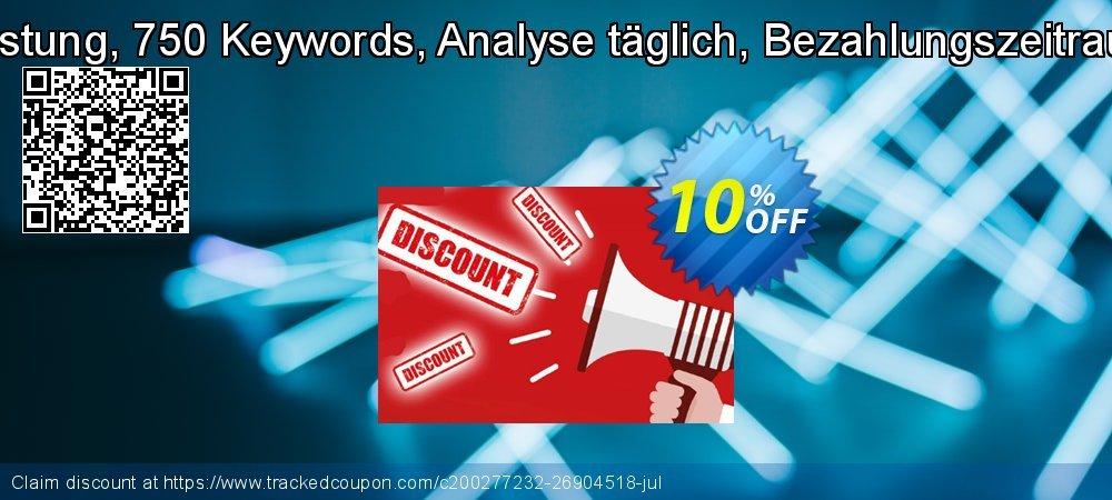 SEO-Dienstleistung, 750 Keywords, Analyse täglich, Bezahlungszeitraum 12 Monate coupon on July 4th offer