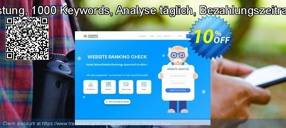 SEO-Dienstleistung, 1000 Keywords, Analyse täglich, Bezahlungszeitraum 12 Monate coupon on Summer offer