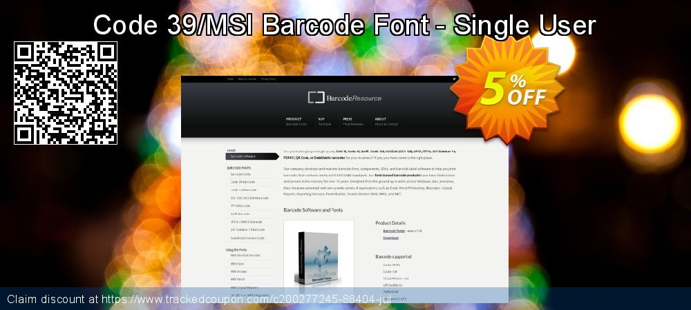 Code 39/MSI Barcode Font - Single User coupon on Valentine's Day promotions