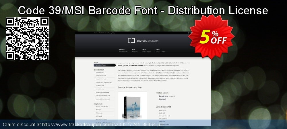 Code 39/MSI Barcode Font - Distribution License coupon on Valentine's Day offer