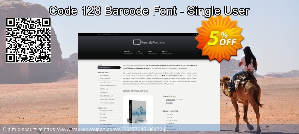 Code 128 Barcode Font - Single User coupon on Valentines Day offering sales