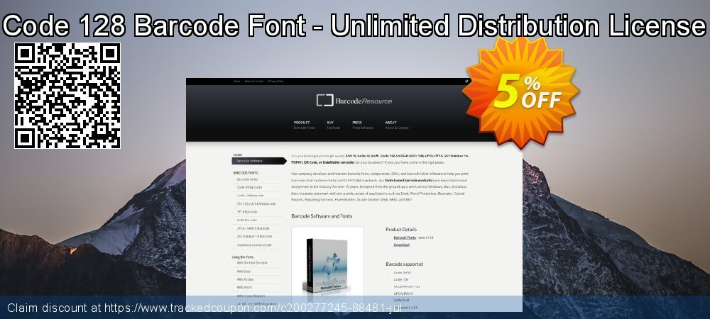 Code 128 Barcode Font - Unlimited Distribution License coupon on Read Across America Day offering sales
