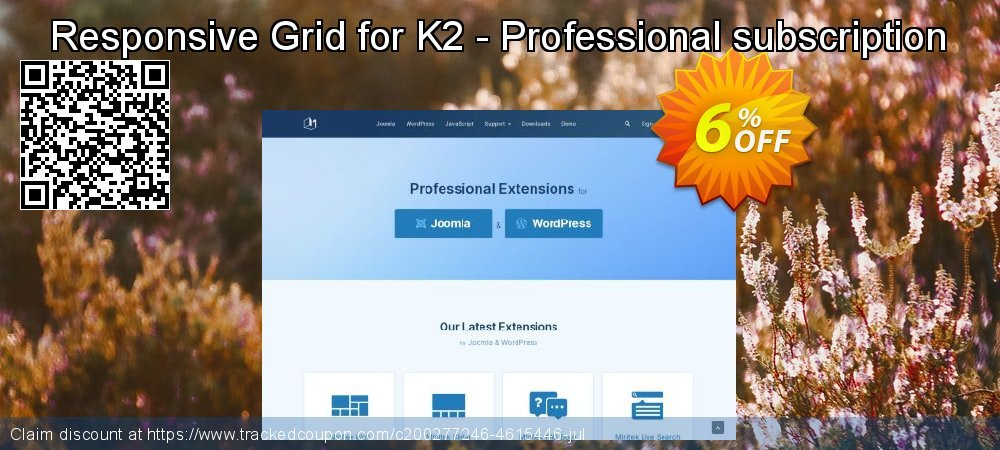 Responsive Grid for K2 - Professional subscription coupon on Int'l. Women's Day discounts