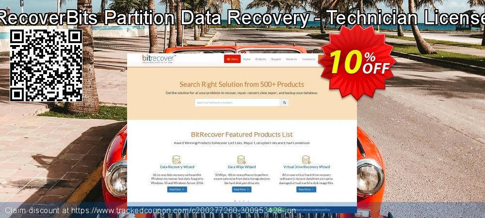RecoverBits Partition Data Recovery - Technician License coupon on World Bollywood Day offering discount